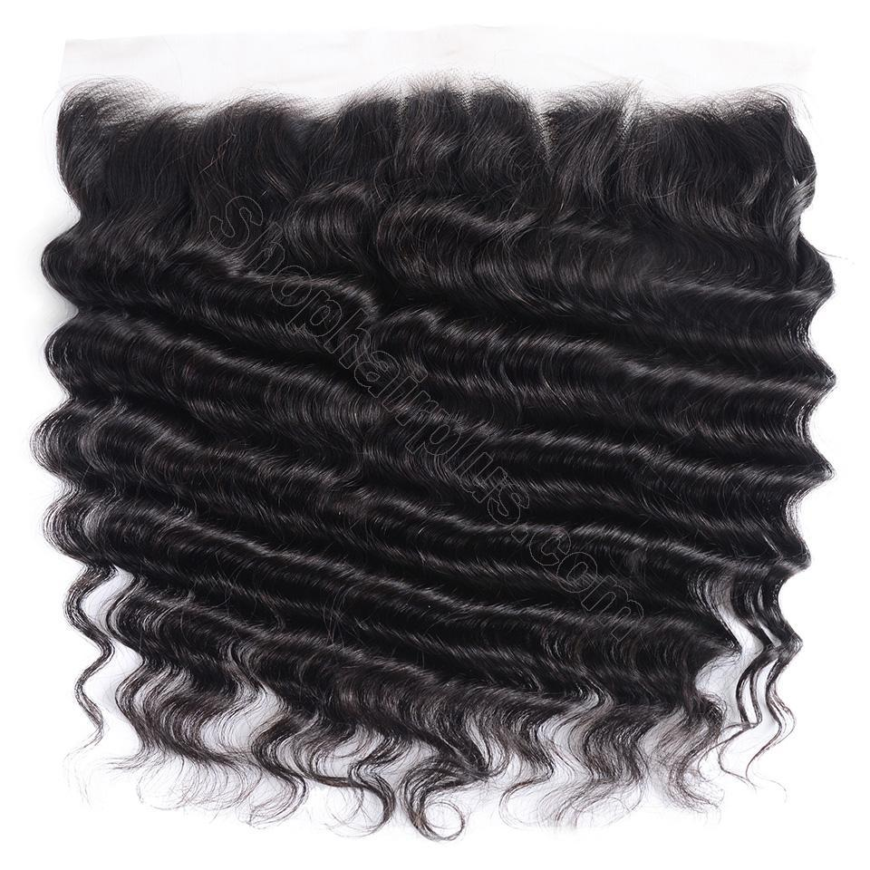Loose Deep Wave Frontal Closure 13x4 Lace Frontal Pre Plucked 150% Densit 2