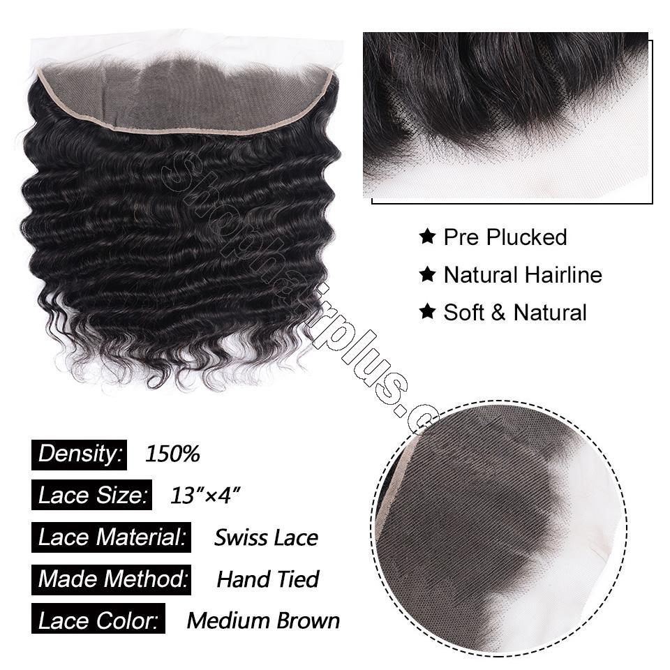 Loose Deep Wave Frontal Closure 13x4 Lace Frontal Pre Plucked 150% Densit 3