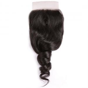 Loose Wave 4*4  Lace Closure 1Pack Human Virgin Hair Extensions Natural Color