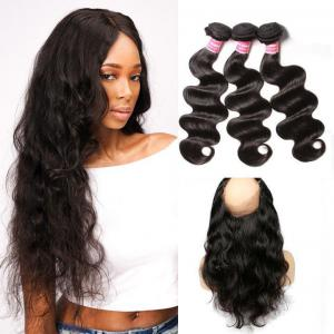 Malaysian Body Wave 360 Lace Frontal Closure with 3 Bundles Virgin Human Hair Weaves