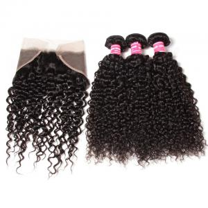 Malaysian Curly Hair 3 Bundles with Ear to Ear 13*4 Lace Frontal Closure