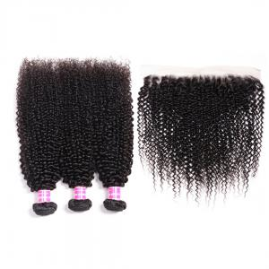 Malaysian Kinky Curly Hair 3 Pcs with 13*4 Ear to Ear Lace Frontal Closure On Deals