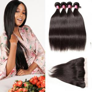 Malaysian Straight Hair 4 Bundles with Frontal Closure Deals