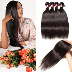 Malaysian Straight Hair 4 Bundles with Lace Closure, No Shedding and Tangle Free