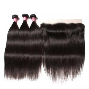 Malaysian Straight Hair Weave 3 Bundles with Ear to Ear Lace Frontal Closure
