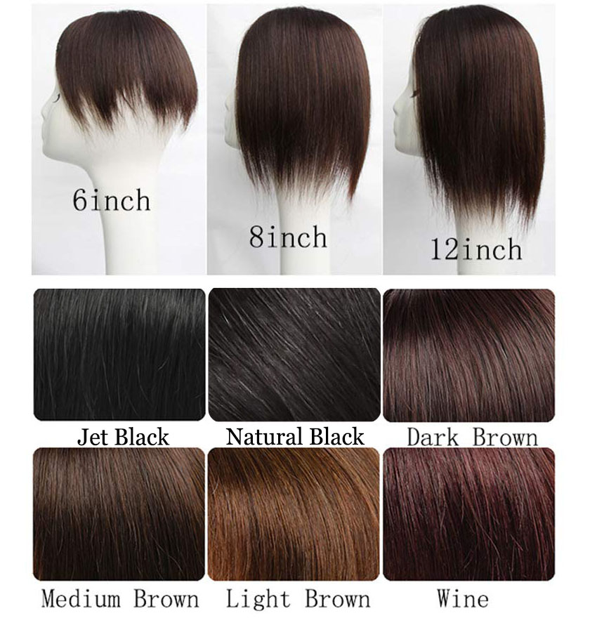 "Instantly Human Hair Topper Wiglets Hairpieces for Thinning Hair, 5"" x 5.5"" Mono Crown Topper with Clips for Women Color Chart"