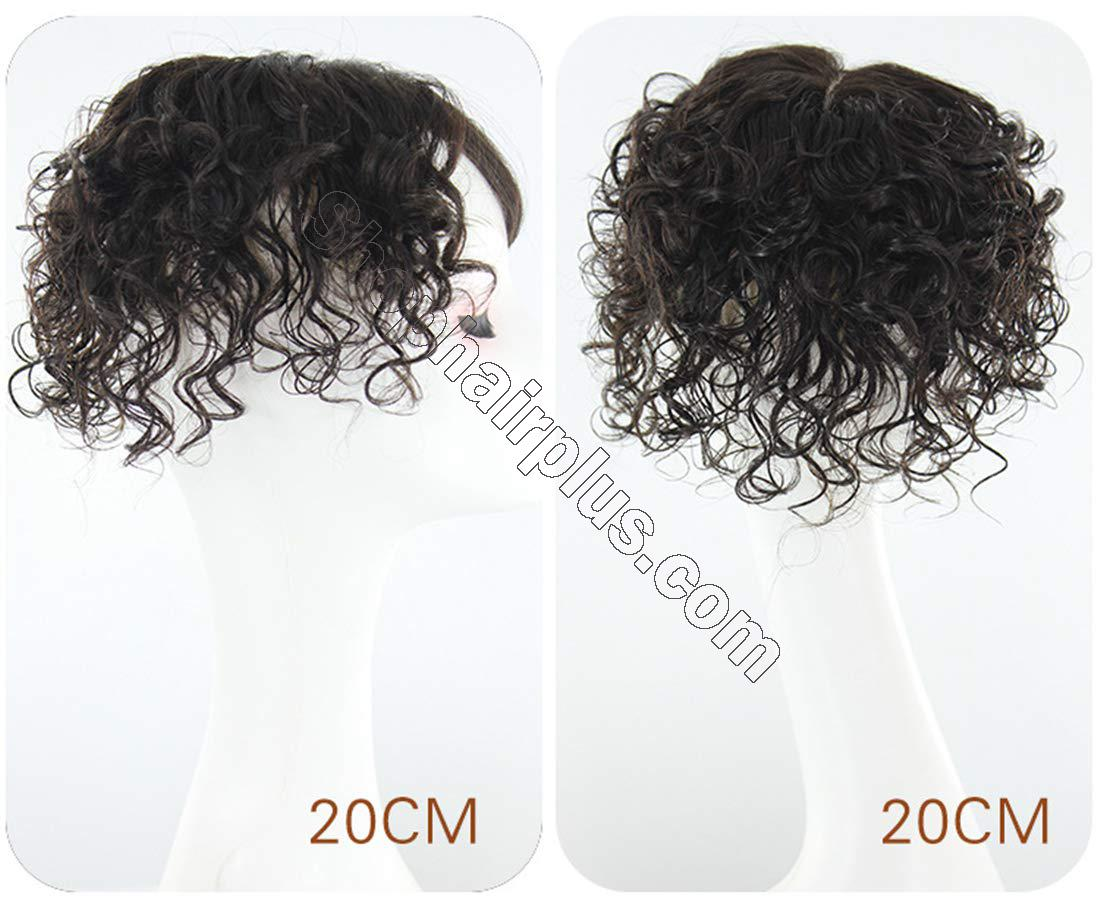 Mono Human Hair Topper Wiglet Hairpiece for Thinning Hair, Hand Tied Curly Hair Toppers with Clip in 3