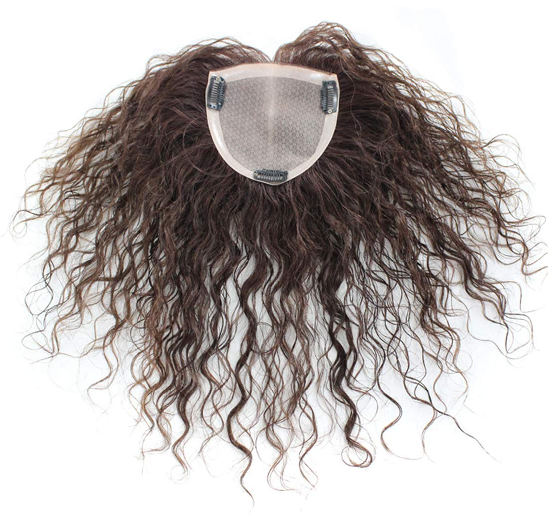 Mono Human Hair Topper Wiglet Hairpiece for Thinning Hair, Hand Tied Curly Hair Toppers with Clip in 7