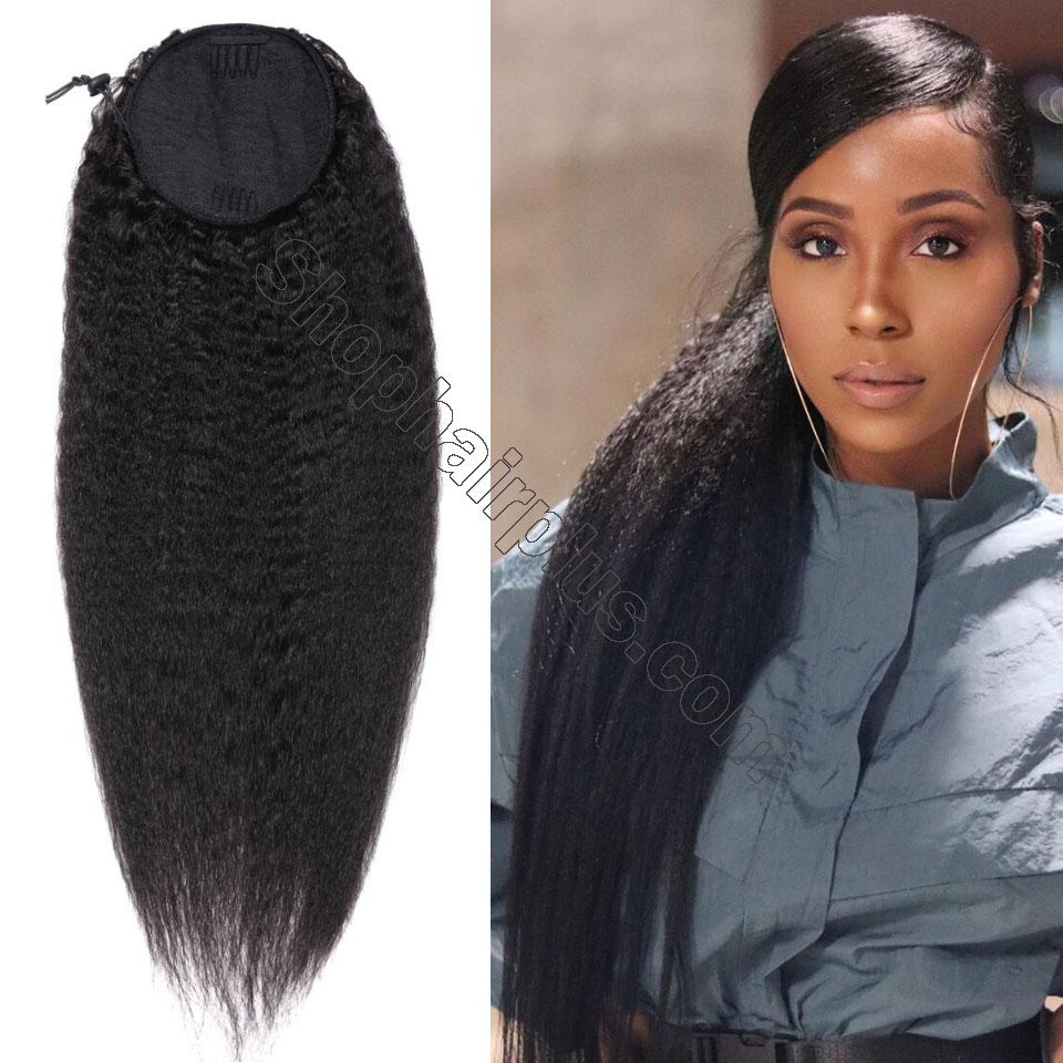 nky Straight Wrap Around Ponytail 100% Human Hair Drawstring Ponytail Extensions Clip In Afro Puff 2