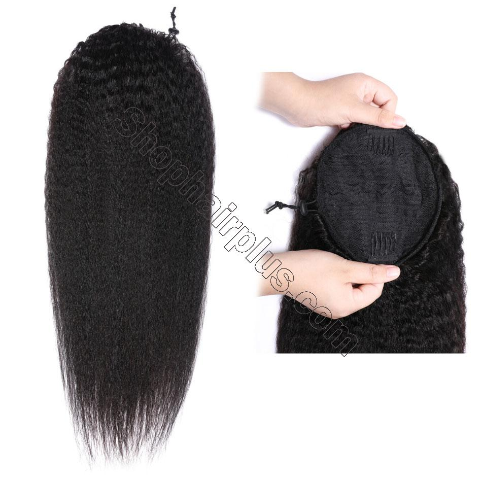 nky Straight Wrap Around Ponytail 100% Human Hair Drawstring Ponytail Extensions Clip In Afro Puff 3