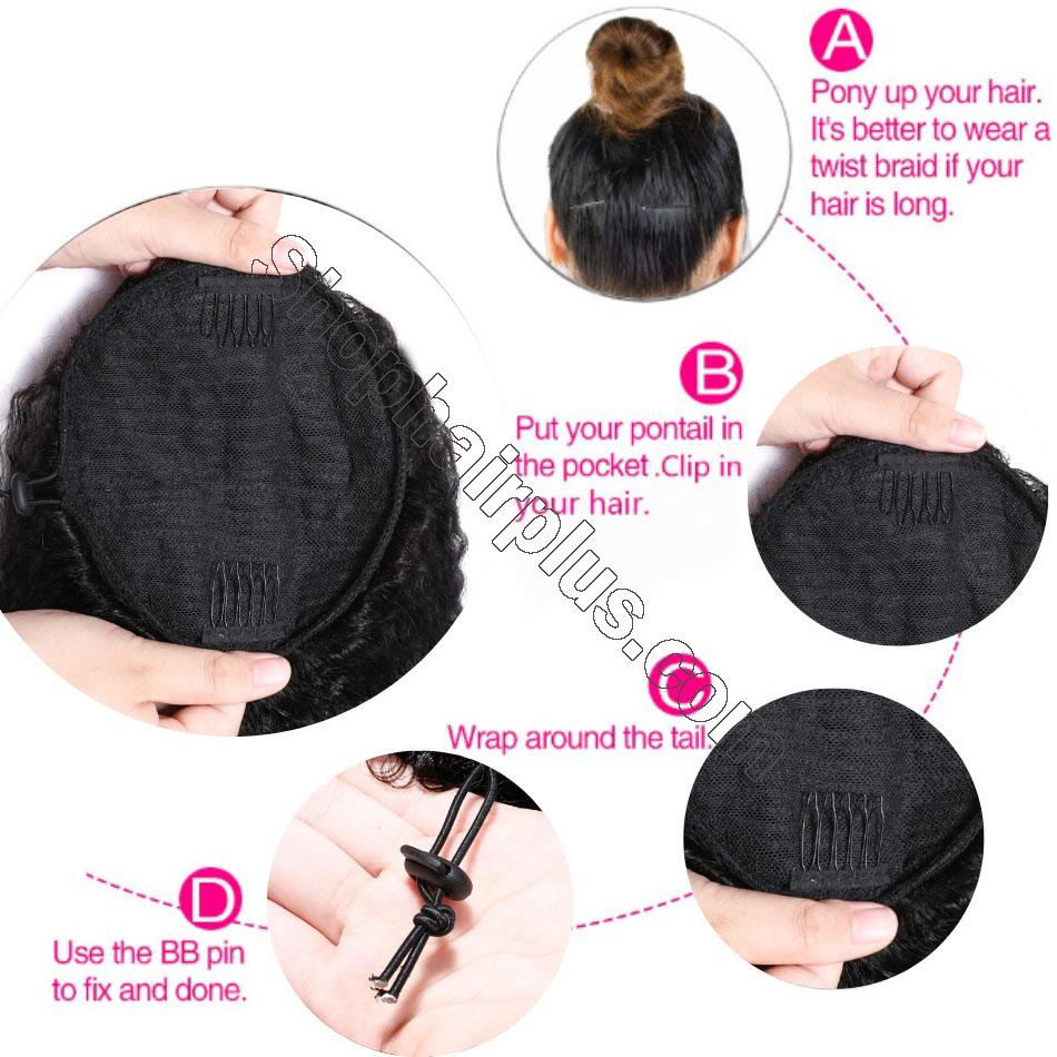 nky Straight Wrap Around Ponytail 100% Human Hair Drawstring Ponytail Extensions Clip In Afro Puff 4