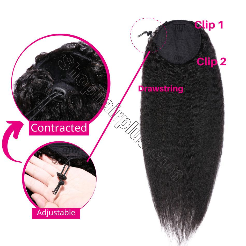 nky Straight Wrap Around Ponytail 100% Human Hair Drawstring Ponytail Extensions Clip In Afro Puff 5