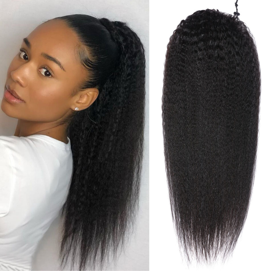 nky Straight Wrap Around Ponytail 100% Human Hair Drawstring Ponytail Extensions Clip In Afro Puff 8