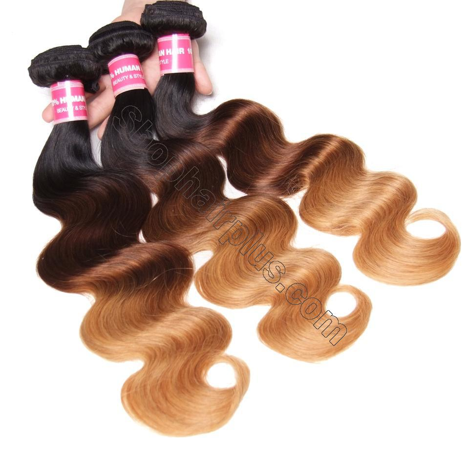 Ombré  Hair T1b/4/27 Body Wave Human Hair 3 Bundles with Lace Closure 5