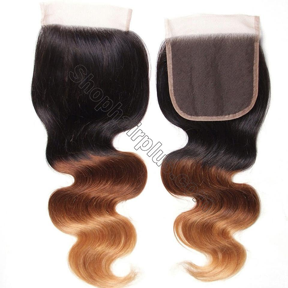 Ombré  Hair T1b/4/27 Body Wave Human Hair 3 Bundles with Lace Closure 6