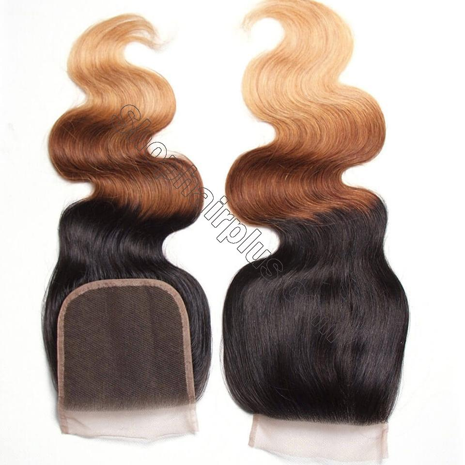 Ombré  Hair T1b/4/27 Body Wave Human Hair 3 Bundles with Lace Closure 7