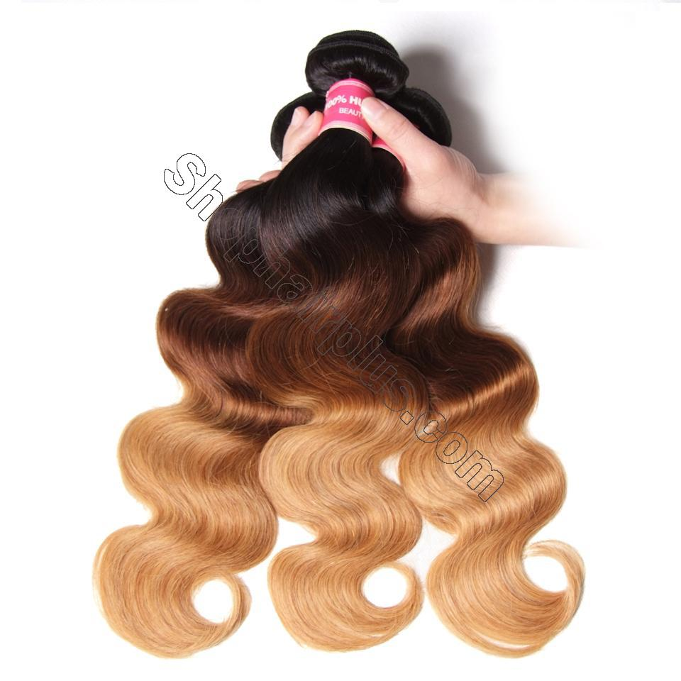 Ombré  Hair T1b/4/27 Body Wave Human Hair 3 Bundles with Lace Closure 8