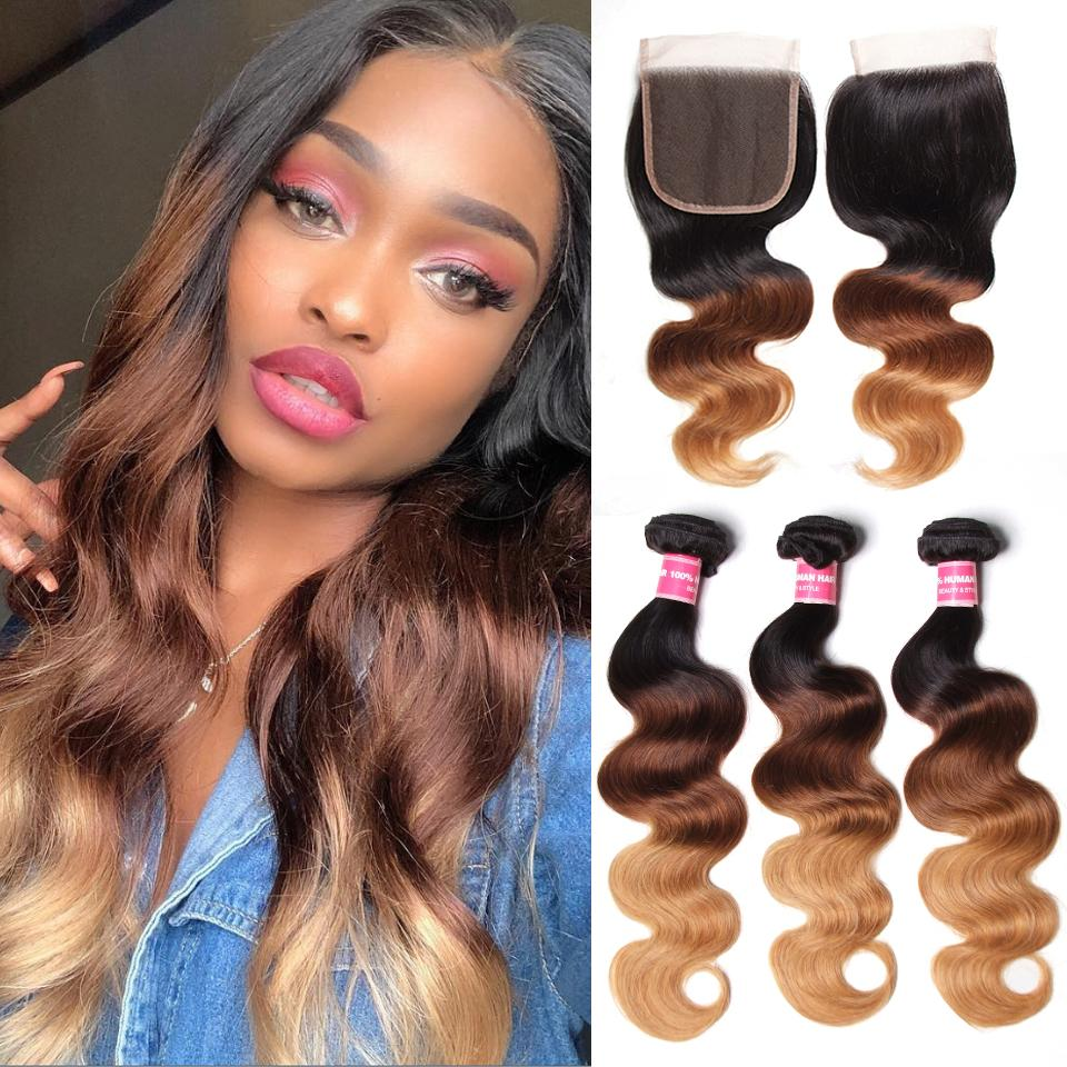 Ombré  Hair T1b/4/27 Body Wave Human Hair 3 Bundles with Lace Closure 13
