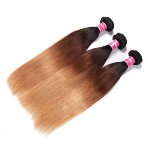 Ombré Straight Human Hair 3 Bundles #1B/4/27 Color