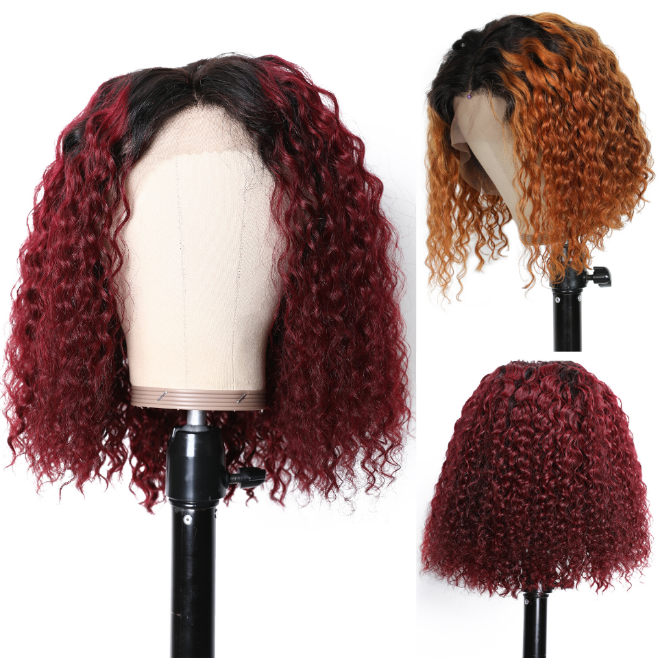 Ombre Color Curly Bob Human Hair Wigs Preplucked Short Curly Lace Front Wigs With Baby Hair 2