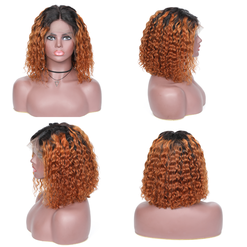 Ombre Color Curly Bob Human Hair Wigs Preplucked Short Curly Lace Front Wigs With Baby Hair 3