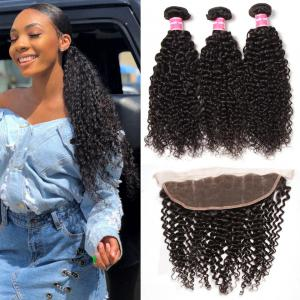 Peruvian Curly Hair 3 Bundles with Lace Frontal Closure