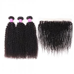 Peruvian Kinky Curly Hair 3 Bundles with Lace Frontal Closure