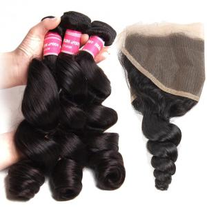 Peruvian Loose Wave  3 Bundles with 13*4 Ear to Ear Lace Frontal Closure