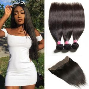 Peruvian Straight Hair 3 Bundles with 13*4 Ear to Ear Lace Frontal Closure Deals