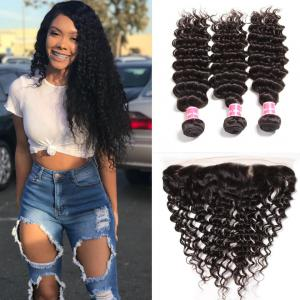 Peruvian Virgin Deep Wave Curly Hair 3 Bundles with Ear to Ear 13*4 Lace Frontal Closure Deals