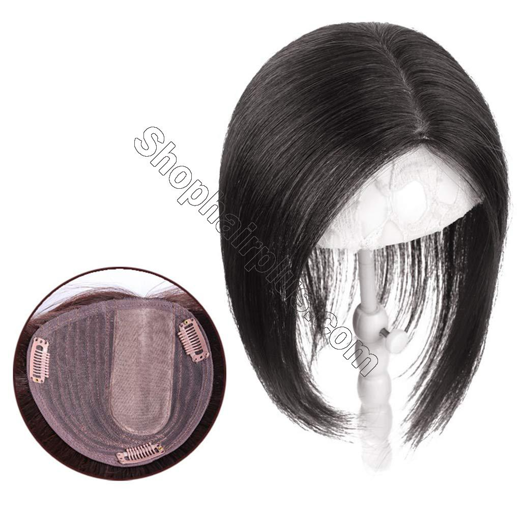 Real Human Hair Clip in Topper for Women Crown Hairpieces for Top of Head with Natural Left Parting 2