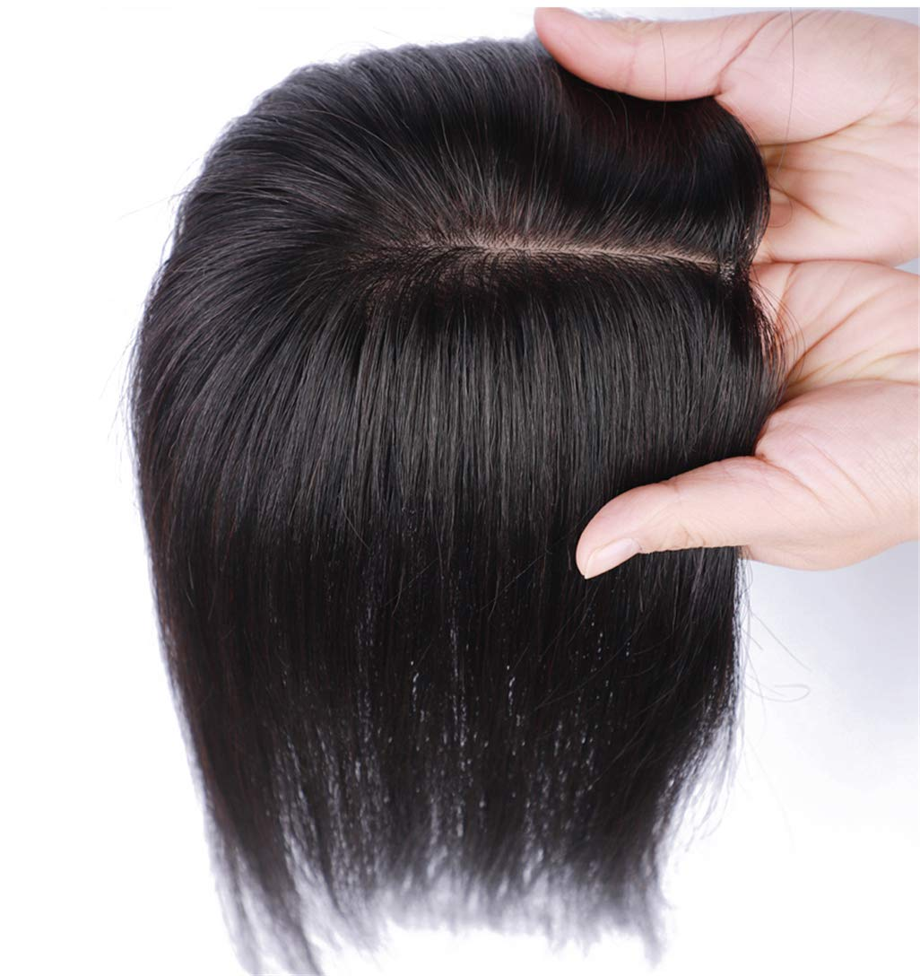 Real Human Hair Clip in Topper for Women Crown Hairpieces for Top of Head with Natural Left Parting 5