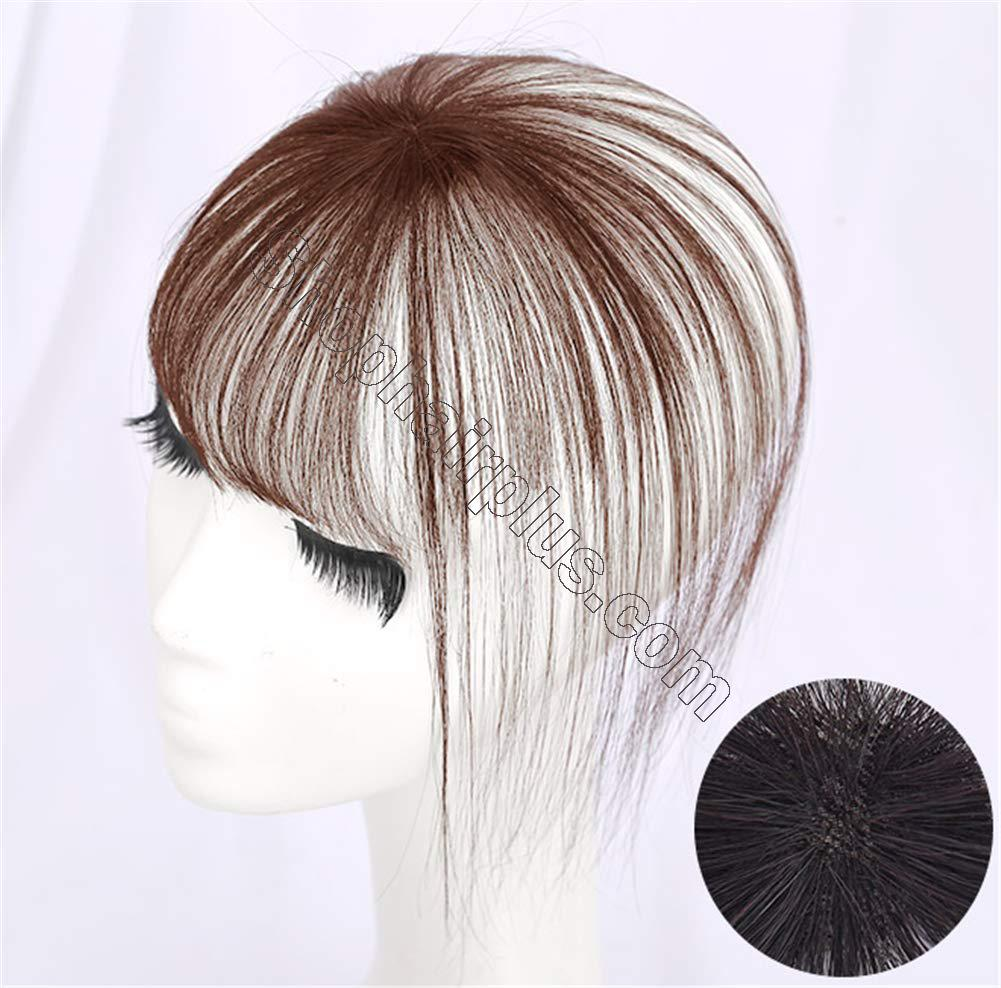 Real Human Hair Clip on Bangs Topper 3D Hand Made Air Bangs Crown Wiglet Hairpieces for Women 2