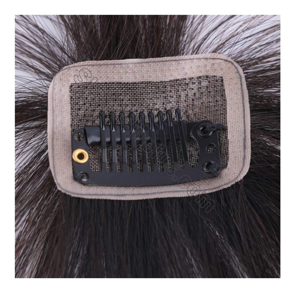 Real Human Hair Clip on Bangs Topper 3D Hand Made Air Bangs Crown Wiglet Hairpieces for Women 3