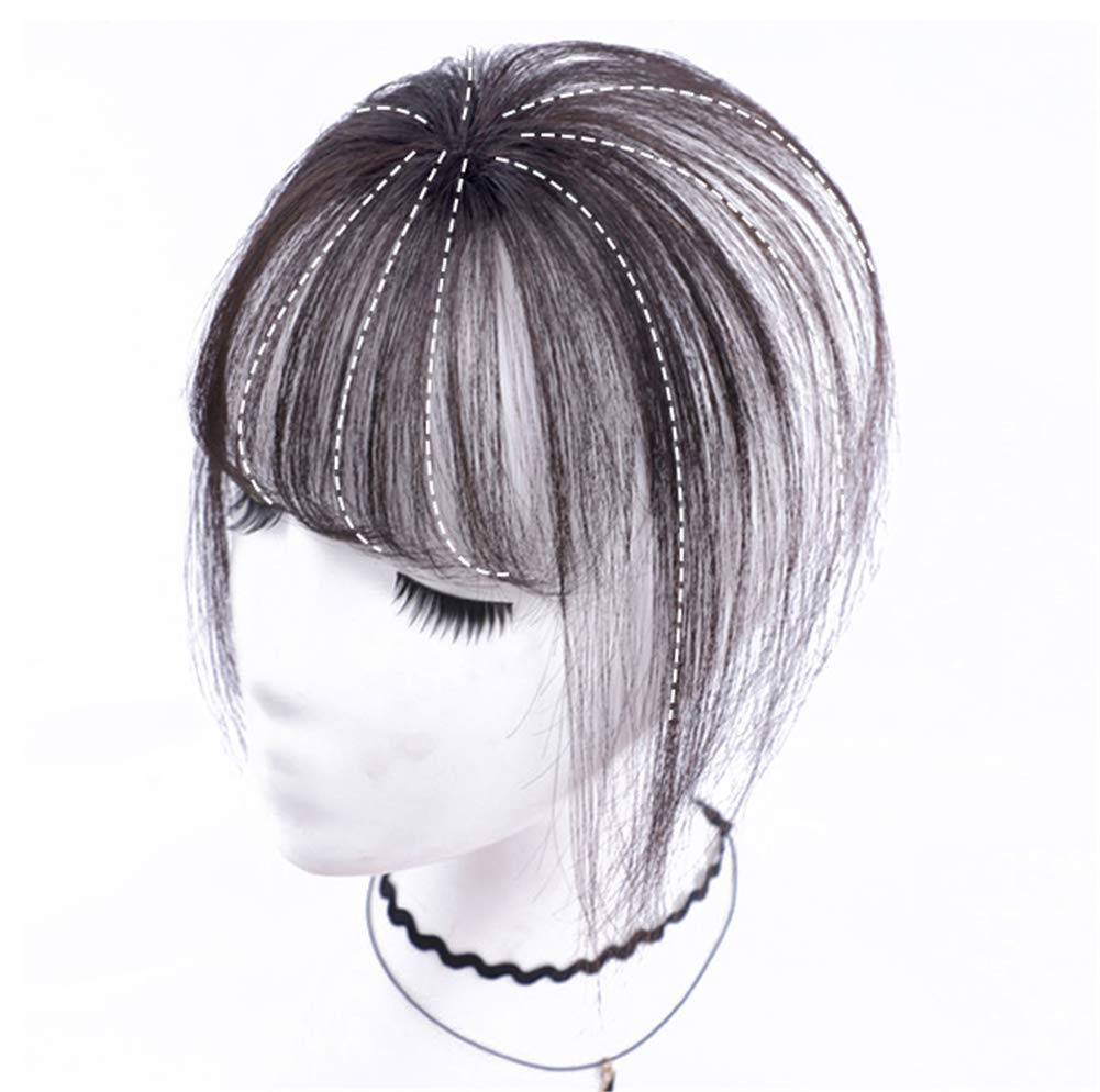 Real Human Hair Clip on Bangs Topper 3D Hand Made Air Bangs Crown Wiglet Hairpieces for Women 5