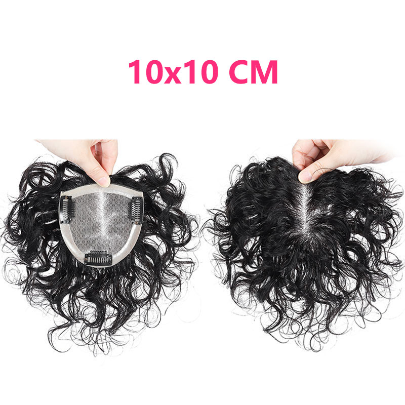 Silk Top Curly Human Hair Toppers for Women with Crown Thinning Hair, 6 Inch Short Clip on Bang Wiglet Hair Pieces 4