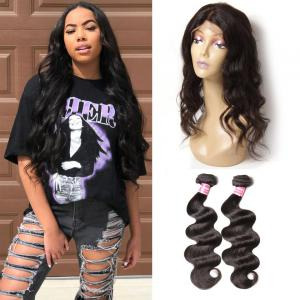 Virgin Brazilian Body Wave 2 Bundles with 1 Piece 360 Lace Frontal Closure
