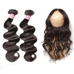 Virgin Peruvian Body Wave 2 Bundles with 1 Piece 360 Lace Frontal Closure
