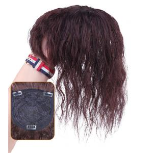 """Wavy Curly Human Hair Toppers for Women with Thinning Hair, 4.7""""x5.5"""" Clip in Top Hairpiece Bang Topper Wiglet"""