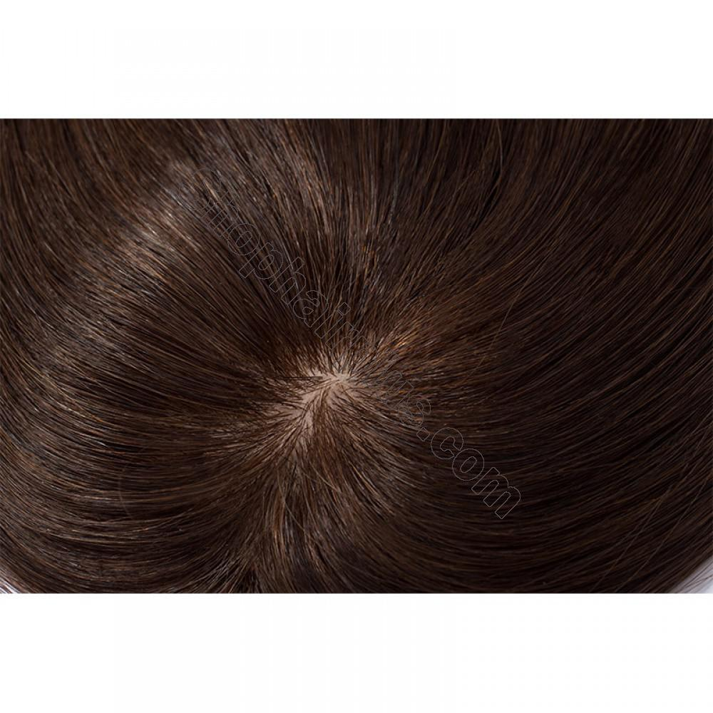 Women's Human Hair Toppers For Hair Loss or Thinning Hair #4 Medium Brown 7